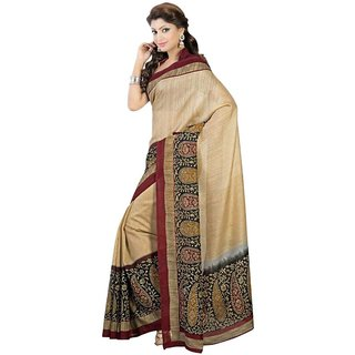 Meia Green Bhagalpuri Silk Printed Saree With Blouse