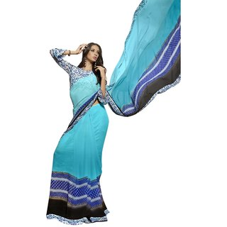 Triveni Pleasing SkyBlue Colored Printed Faux Georgette Casual Wear Saree TSNSY31028