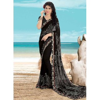 Swaron Black Georgette Printed Saree With Blouse