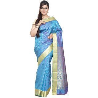 Sudarshan Silks Blue Art Silk Plain Saree With Blouse