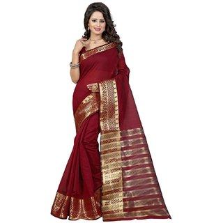 Subhash  Red Plain Banarasi Cotton Silk Saree For Women