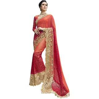 TriveniSarees Peach Georgette Printed Saree With Blouse
