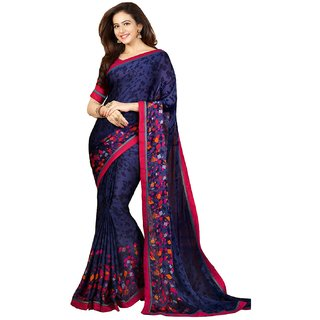 Active Georgette Printed Saree For Women Blue and PinkSAVI2127