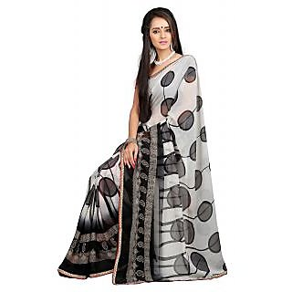 Khoobee Black & White Chiffon Printed Saree With Blouse