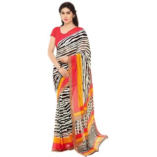 Triveni White Georgette Printed Saree With Blouse