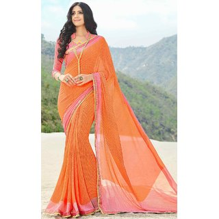 Subhash  Orange Plain Synthetic Georgette Saree For Women