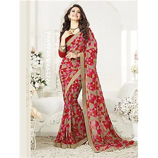 Indian Beauty Pink Georgette Self Design Saree With Blouse