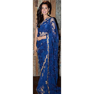 Indian Beauty Blue Georgette Self Design Saree With Blouse