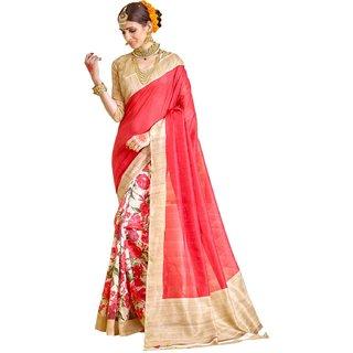 Samskruti Sarees Womens Raw Silk Saree Red Color