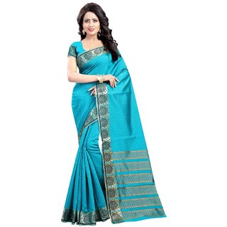 Subhash  Blue Plain Banarasi Cotton Silk Saree For Women