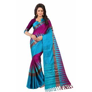 Samarth Fab Purple Cotton Woven Design Saree With Blouse