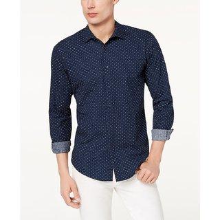 Tom T Men Navy Blue Dott Print Casual Shirts