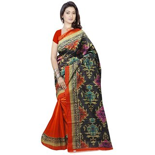 Meia Sarees BeigeOrange Block Print Bhagalpuri Silk Saree With Blouse