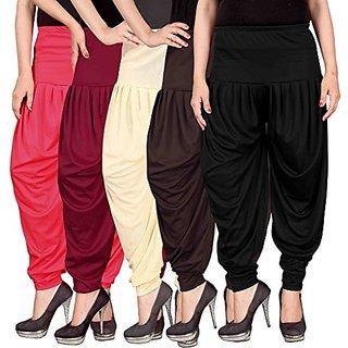 Navyataa Women's Lycra Dhoti Pants For Women Patiyala Dhoti Lycra Salwar Pant Free Size (Pack Of 5)(Pink,Maroon,Cream,Brown,Black)