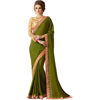 Mehandi Georgette EMBROIDERY Saree with Blouse pis