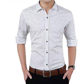 Tom T White Dot Print Shirt For Men