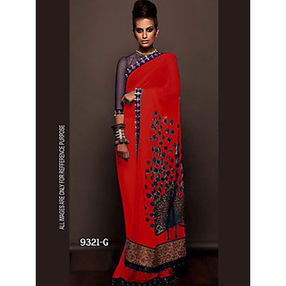 cb5152568 Buy Indian Beauty Red Georgette Self Design Saree With Blouse Online ...