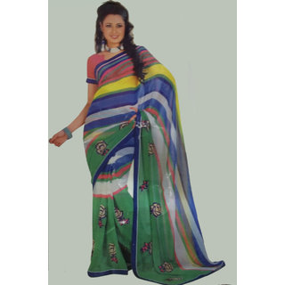 Multicolor Saree With Embroidery