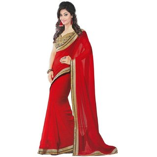 Womens Georgette Saree (AmairaRedColour-Red)