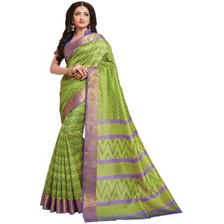 Sudarshan Silks Green Cotton Plain Saree With Blouse