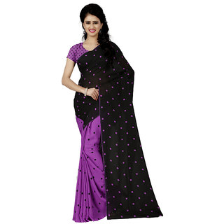 Anand Sarees Purple Georgette Floral Saree With Blouse