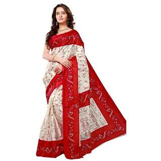 Triveni Saree White Silk Printed Saree With Blouse