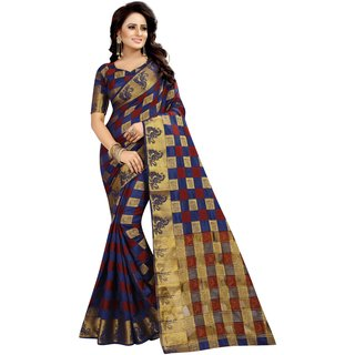 Meia Women'S Ethnic Wear Jari Bordered Cotton Silk Navy Blue Colour Saree.