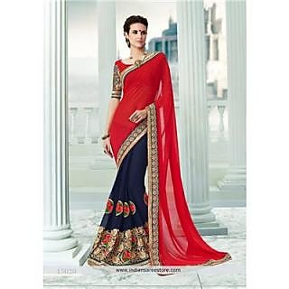 Indian Beauty Multicolor Georgette Self Design Saree With Blouse