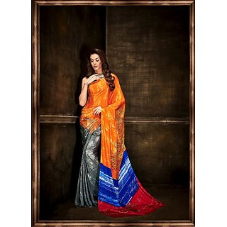 Thankar online trading Multicolor Crepe Printed Saree With Blouse