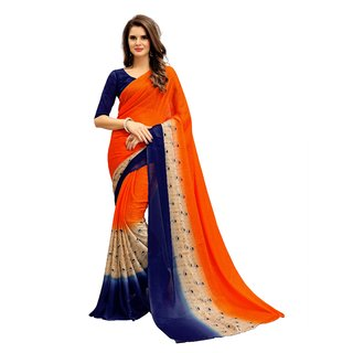 Fashion Storey Orange Georgette Saree
