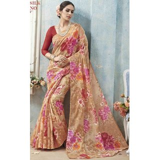 Sudarshan Silks Multicolor Linen Printed Saree With Blouse