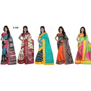 Meia Multicolor Bhagalpuri Silk Block Print Saree With Blouse combo