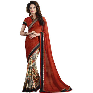 Decent World Bollywood Designer Georgette Red Unstitched Fancy Saree Online