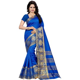 Dhwani Enterprise Blue Cotton Silk Saree with Blouse