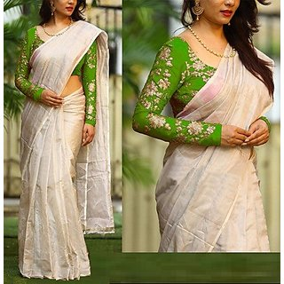 NEW MARUTI ENTERPRISE Green Cotton Silk  Saree For Womens(42000_Perrot)