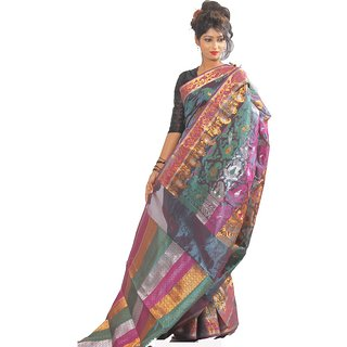 Banarasi Silk Works Multicolor Linen Self Design Saree With Blouse