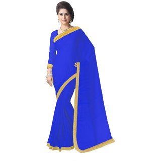 Triveni Blue Georgette Embroidered Saree With Blouse