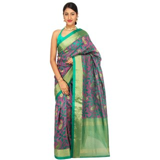 Sudarshan Silks Multicolor Raw Silk Printed Saree With Blouse