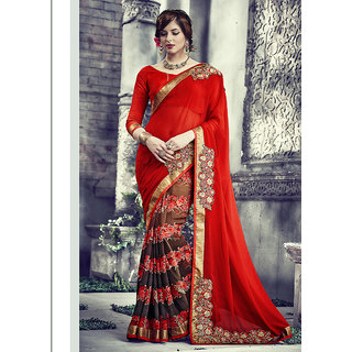 Vastrani Brown & Red Georgette Embroidered Saree With Blouse