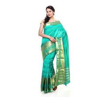 Sudarshan Silks Blue Raw Silk Self Design Saree With Blouse