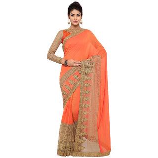 Triveni Orange Georgette Embroidered Saree With Blouse