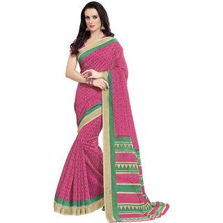 Triveni Pink Cotton Printed Saree With Blouse