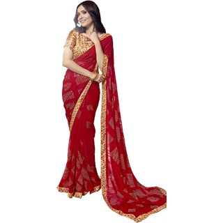 Triveni Women's Red Faux Georgette Printed Casual Wear Saree