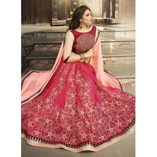 Swaron Peach & Pink Georgette Embroidered Saree With Blouse