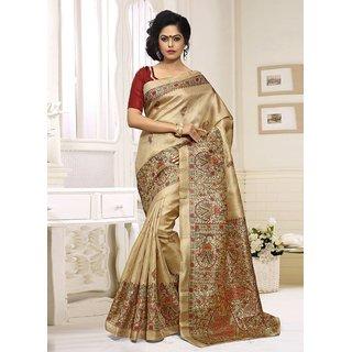 Swaron Beige Silk Printed Saree With Blouse