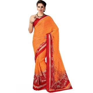 Sudarshan Silks Orange Crepe Self Design Saree With Blouse