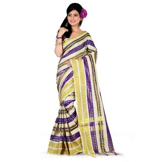 GANGA SHREE Multicolor Banarasi Silk Self Design Saree With Blouse Piece