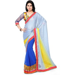 Triveni Blue Georgette Lace Saree With Blouse