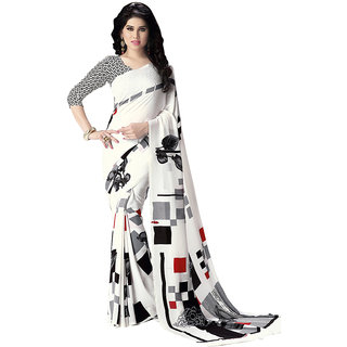 Swaron White Colour Italian Crepe Saree 174S532