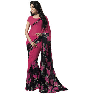 Deepfashion Pink Georgette Printed Saree With Blouse